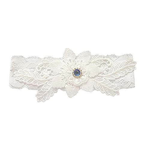 Fablcrew Wedding Garter Vintage Blue Gemstone Crystal Lace Wedding Bridal