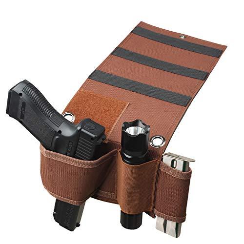 Generic Tactical verstellbar unter Matratze Bett Seat Auto Pistolen Pistole Halter Universal mit Tactical Taschenlampe Loop, braun