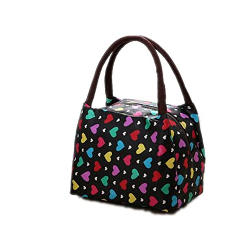 Rieovo 2017pranzo borse per donne floreale a strisce contenitore termico per pranzo picnic, Kids uomo Cooler Tote Colorful Heart