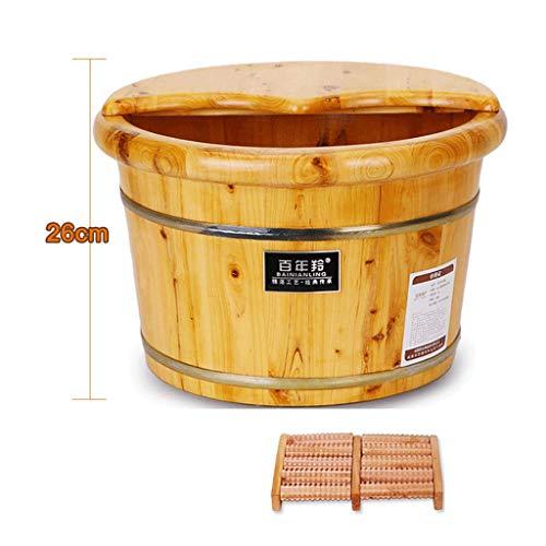 WEIFAN-Tub Foot wash tub Bain de Pied en Bois Tonneau de Bain de Pied avec Couvercle Pédicure à la Maison/Tonneau + Couvercle + Masseur / 26Cm