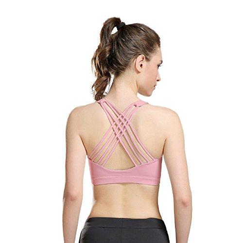 Wongfon Reggiseno sportivo donna sexy Biancheria intima antiurto di sport della parte posteriore di bellezza di yoga corrente di forma fisica di idoneità nessun cerchio rosa