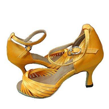 Scarpe da ballo-Personalizzabile-Da donna-Balli latino-americani / Jazz / Salsa / Scarpe da swing-Tacco su misura-Raso-Marrone / Giallo / Yellow