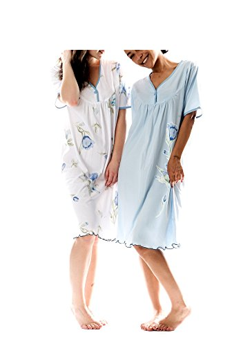 Damen Kurzarm Nachthemd Baumwolle 2 Stück Packung Knopfleiste DF844-845 Größe 44-46 (Kurzarm-nachthemd)