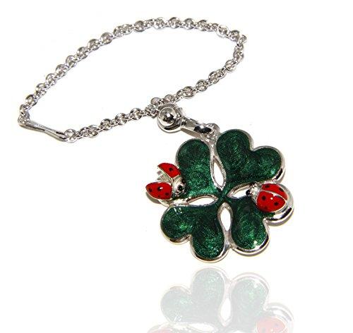 Portachiavi o pendente charm borsa donna Key ring porta chiavi quadrifoglio e coccinella argento 925 massiccio