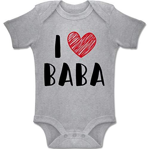 Shirtracer Bunt gemischt Baby - I Love Baba - 1-3 Monate - Grau meliert - BZ10 - Baby Body Kurzarm Jungen Mädchen