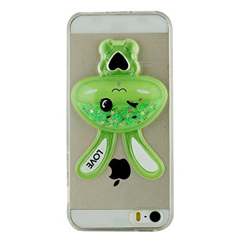 Apple iPhone 5 5S / iPhone SE Custodia Copertura Protettiva rigido Cover Alla moda Sottile Cartoon coniglietto Forma Liquido Stelle Colorate Flusso Creativo Unico Case –Stile 1 Rosa Verde