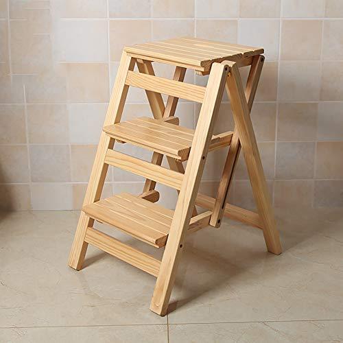 3 Schritt Hocker Hause Holz Klappleiter Stuhl Verdickt Bibliothek Treppenstuhl Tragbare Licht Gartenwerkzeug Leiter Maximale Belastung 150 KG,A -