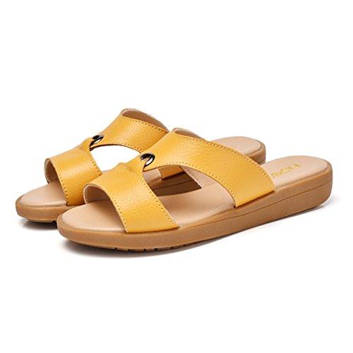 Damen Pantoffeln Slip On Flache Nidrige Freizeit Strandschuhe Bequeme Schlappen Leichtgewicht Sommer Schuhe Gelb