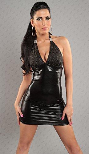 Mini robe dos nu en cuir latexlook plusieurs coloris taille unique de en stylefasion Noir - Noir