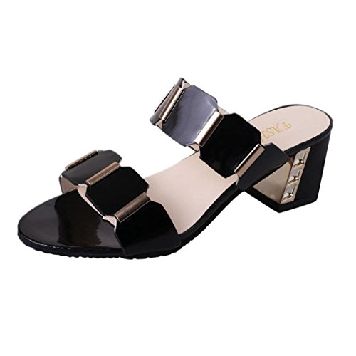Uomogo sandali estivi donna, sandali infradito donna sandalo estivi scarpe basse eleganti - donna strass gufo dolce sandali clip toe (asia 39, nero)