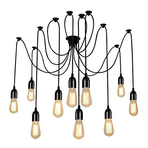 Lampop Lampadario Industriale Sospeso Vintage per Soffitto Forma di Ragno con Bracci Pendenti per Ogni Lampadine E27 Massima 60W (Senza lampadine)