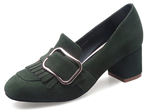 Donna Tacco Frange Scarpe Aisun Da Confortevole Verde nRWEcUxw
