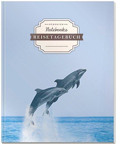 DÉKOKIND Reisetagebuch zum Selberschreiben | DIN A4, 100+ Seiten, Register, Vintage Softcover | Auch als Abschiedsgeschenk | Motiv: Delphine