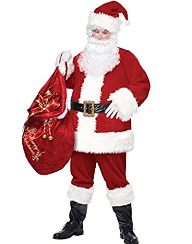 California Costumes Deluxe Plus Size Santa Claus Suit Christmas Costume (Plus Size Di Santa Suit)