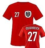Trikot - ÖSTERREICH - 27 - Kinder T-Shirt - Rot/Weiss-Schwarz Gr. 86-92