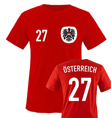 Trikot - ÖSTERREICH - 27 - Kinder T-Shirt - Rot/Weiss-Schwarz Gr. 98-104