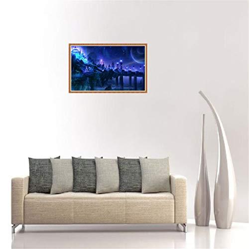 Vibola 5D DIY Diamant Malset Engel Mädchen Seepferdchen Muster Diamant Gemälde Gemälde für Erwachsene, Volle runde Bohrer-Stickerei Strass Kreuzstich Kunst 30x40cm/11.81''x15.74'' inch F -