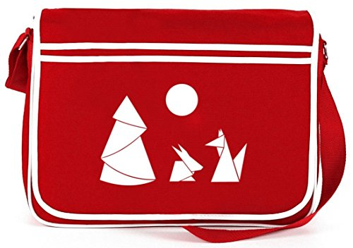 Shirtstreet24, Hase und Fuchs, Retro Messenger Bag Kuriertasche Umhängetasche Rot