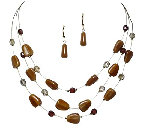 Triple Strand Illusion Caramel Color Czech Glass and Crystal Necklace and Earring Set by LaRaso & Co