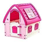 Vetrineinrete Casetta per Bambine Rosa casa Giocattolo Principesse con Porta e finestre per Bimbe Interni Esterni Giardino Idea Regalo Bambina 102x121x123 cm 2214