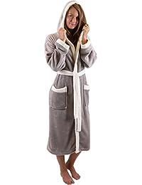 Betz leichter sportlicher Bademantel UNISEX Saunamantel mit Kapuze Damen Herren Farbe Beige oder Braun Größen S - XXL
