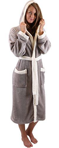 Betz Bademantel UNISEX Morgenmantel Saunamantel mit Kapuze Farbe Beige oder Braun Größen S - XXL Größe M - braun
