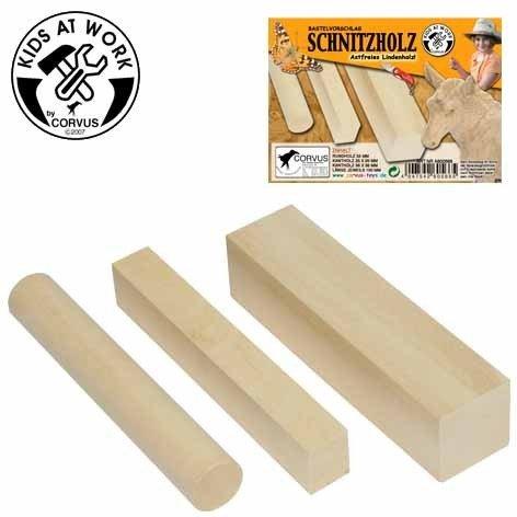 Corvus - A 600 566 - Bois à Sculpter Bricolage - Kids At Work - 3 Pièces