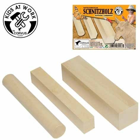 Preisvergleich Produktbild Holz Schnitzholz Rund 2,5x15cm kl.eckig 2,5x2x15cm gr.3,5x3,5x15cm A600566