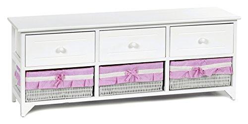 Aparador blanco estilo rústico con 3 cajones 3 cestas con tela color rosa y blanco