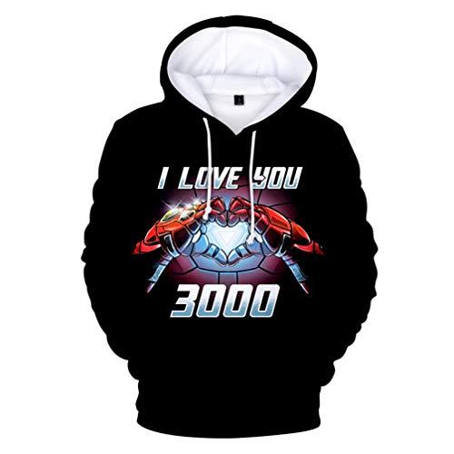 FLY BOY Herren Hoodie Für Iron Man Ich Liebe Dich 3000 Elemente,Mode Freizeit 3D Drucken Muster Langarm Hoodie,Unisex Polyester Bequem Atmungsaktiv Hoodie S-4XL,S