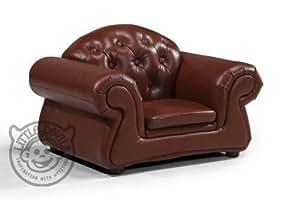 Fauteuil enfant mini chester marron pu cuir jeux salle de - Amazon fauteuil enfant ...