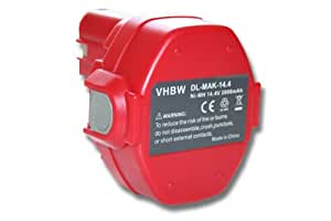 Batterie NI-MH 3000mAh 14.4V rouge pour MAKITA 6339DWDE etc. remplace 1420, 1422, 1422 192600-1, 1433, 1434, 1435, 1435F, 192600-1, 192699-A etc.
