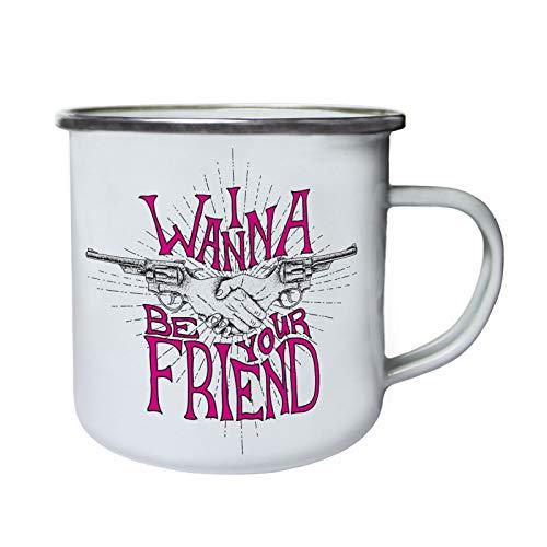 I Wanna Be Your Fake Friend Retro, Zinn, Emaille 10oz/280ml Becher Tasse ff461e