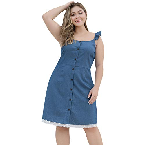 Damen Kleid Für Damen Elegant Somerl Damen Kleider Frauen Plus Größe Beiläufiger Riemen Knopf Quasten Denim Minirock Kleidung Für Damen(Blau,XXXL) (Kurze Ballkleider Riemen)
