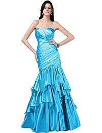 sunvary Mermaid estilo Sweetheart Cuello Satén Largo De Vestido De Fiesta con volantes
