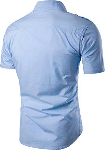 Jeansian Hommes Mode Casual Chemises Manche Courte Men's Fashion Slim Short Sleeves Dress Shirts Tops 84P4 blue