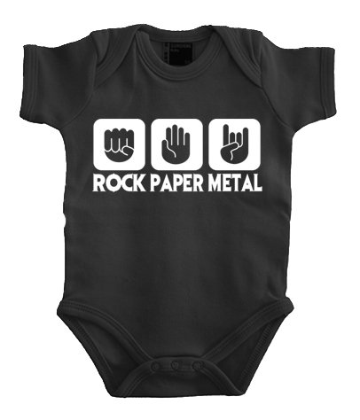 Touchlines Baby Body Stein Papier Rock - Heavy Metal - Chaqueta de deporte para bebé niña, color negro, talla DE: 68