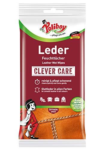 Poliboy - Leder Feuchttücher - perfekte Reinigung für Glatt- und Kunstleder - Einzeln - 1x20 Tücher - Made in Germany