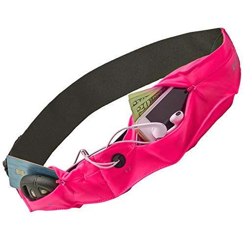 Sport- und Reisegürtel von Athlé mit Zwei dehnbaren Taschen - Taschen, in die meisten Handys, Geldbörsen und Karten usw passen. - Schlüsselanhänger, Kopfhörersteckplatz, Eine Größe einstellbar - Pink