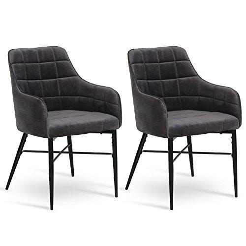 WOLTU® 2er Set Esszimmerstühle Küchenstühle Polsterstuhl Wohnzimmerstuhl Sessel mit Armlehne, Sitzfläche aus Samt, Metallbeine, Grau, BH81gr-2 (Weiß Polsterstuhl)