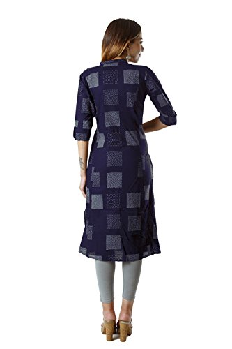 Bright Cotton Women's A-Line Printed Kurti (M, Blue)