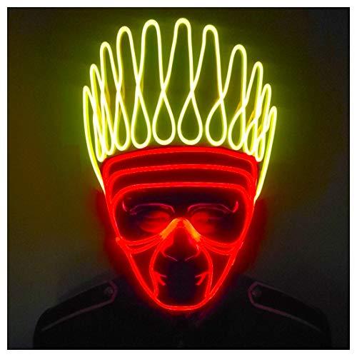 GRYY Leuchtmaske Fluoreszierende Tanzmaske Kaltlichtmaske Atmosphärenmaske Bühnenkleidung Maskenrequisiten,Multi Colored-OneSize