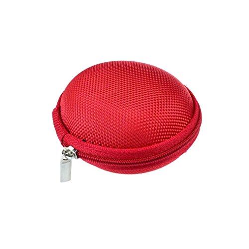 Tonsee® Mini Zipper écouteurs casque Sac de stockage Box étui de transport de casque (Rose) Rouge