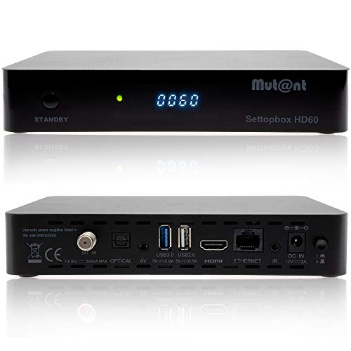 Mutant HD60 - Ricevitore satellitare 4K UHD 2160p E2 Linux 1xDVB-S2X, Cavo HDMI Incluso [preprogrammato per Astra & Hotbird]