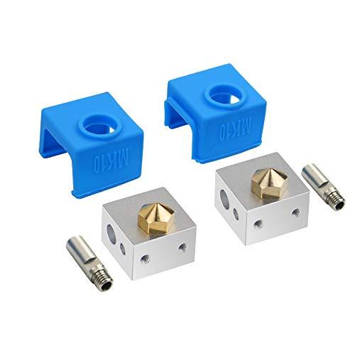 HAWKUNG 8 Pieza Accesorios Impresora 3D, 2 Pieza Extrusora Tubo + 2 Pieza 0.4mm Latón Boquilla + 2 Pieza Funda Silicona + 2 Pieza Bloques Calefacción para MK10 Impresora 3D, Azul
