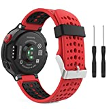 MoKo Watch Band Compatible with Garmin Forerunner 235, Soft Silicone Replacement Watch Band fit Garmin Forerunner 235/235 Lite/220/230/620/630/735XT Smart Watch - Red & Black