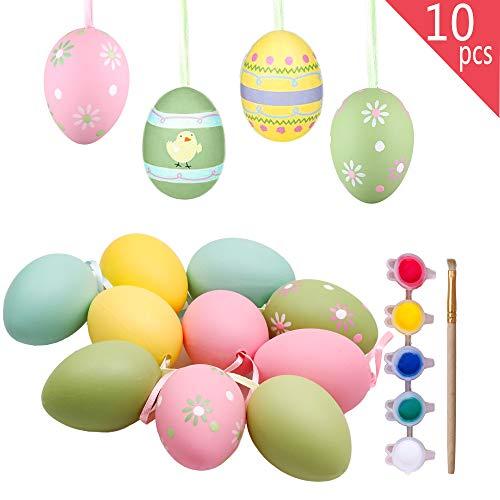 Valery madelyn fai da te in plastica uovo di pasqua 6 cm set 10 con decorazione strumenti di decorazione per bambini: rosa/giallo/blu/verde