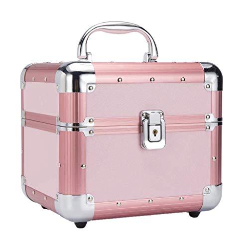 OhLt-j Make-up-Box Professioneller, tragbarer Make-up-Koffer, abschließbare Aluminium-Aufbewahrungsbox for kosmetische Zwecke mit Fächern, pink - 20 Boden-fan Cm