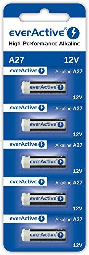 5 x everaActive A27 12 V 10 Piles alcalines 27 A LR27 A MN27 L828 (1 Carte Blister)