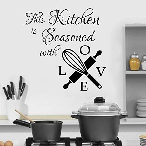Küche Zitat Wandtattoos Dies ist mit Liebe Vinyl Aufkleber Wandbild Wandbeschriftung Cafe Home Decoration Art Poster 84 * 86 cm gewürzt